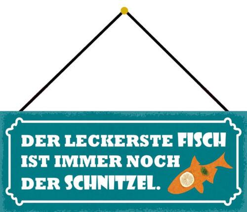 Blechschild Spruch Der leckerste Fisch Metallschild Wanddeko 27x10 cm mit Kordel