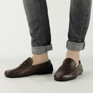 Mens-Leather-Comfort-Casual-Slip-On-Penny-Driving-Moccasin-Loafers-Shoes-Brown