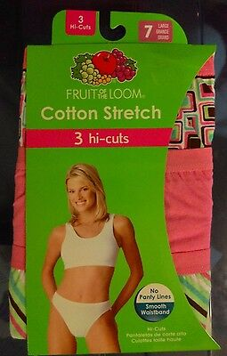 Womens sz 7 L Cotton Stretch Hi Cuts Fruit of the Loom Hi Cut Panties Underwear