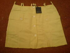 """ANDIE DI Pastel Yellow Mini Skirt Button Front Skirt Size 44 Italy W32"""" L16"""""""