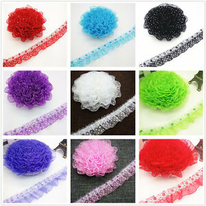 DIY-1-3-5-yards-25MM-45MM-2-Layer-Organza-Lace-Gathered-Pleated-Sequined-Trim