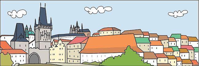 Aleix  Catasus  Prag Fertig-Bild 30x90 Wandbild Städte modern