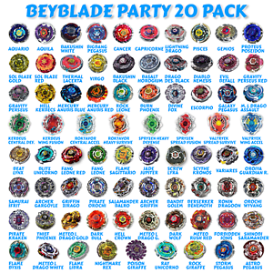 Details about Beyblade 20 Random Party Pack from Metal Masters Fusion Fury  Zero-G Burst Series