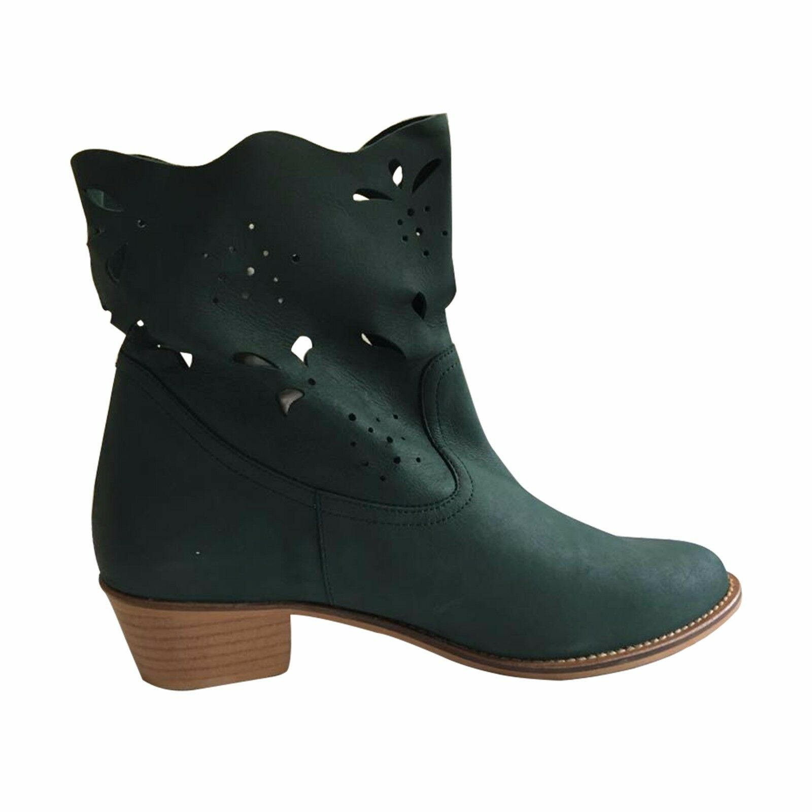 Size 43 Women's Green Leather Laser Cut Cowboy Boots MADE IN SPAIN