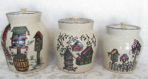 Attrayant ... Home And Garden Party Stoneware Birdhouse Canister Set