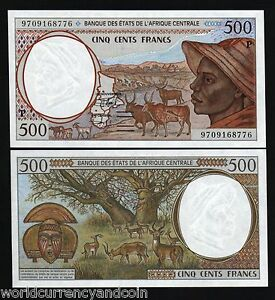 CENTRAL AFRICAN STATES CHAD 500 FRANCS P601 P 1997 DEER SHEEP UNC MONEY CAS NOTE
