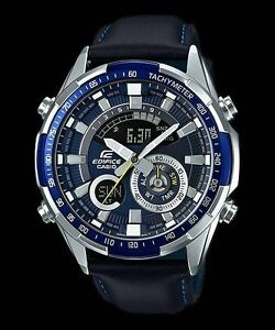 ERA-600L-2A-Blue-Casio-Edifice-Men-039-s-Watches-Analog-Leather-Bands-New