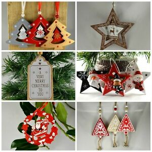 Wooden-Christmas-Tree-Hanging-Toys-Decorations-Beautiful-Santa-Star-Santa-039-s-Boot