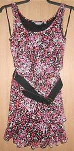 a38ff935b Mia Moda Black & Pink Mix Floral Print Semi Fitted Dress with Wide ...