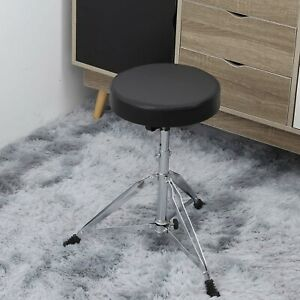 Drum-Stool-Throne-Seat-Foldable-Piano-Stool-Double-Braced-Padded-Top-Adjustable