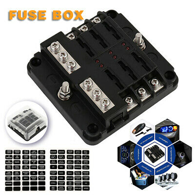 Mini 24V 60A Car Stereo Audio Circuit Blade Fuse Holder Box Block 1 in 2 Way Out