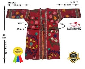 Uzbek-Beautiful-Vintage-Suzani-Red-Hand-Embroidery-Robe-Dress-SALE-WAS-129-00
