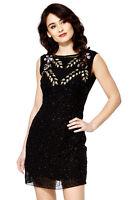 Black Vintage 1920s Flapper Gatsby Downton Abbey Fringe Beaded Dress Size 8-20