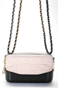 Chanel Quilted Leather Gabrielle Crossbody Handbag Pink Black