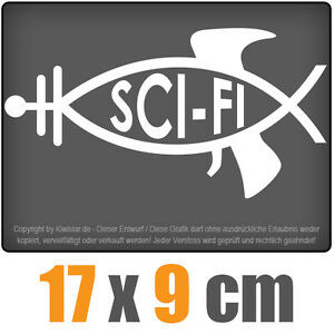 Sci-Fi-pescado-17-x-9-cm-JDM-decal-Sticker-Adhesivo-disco-coche-car-blanco