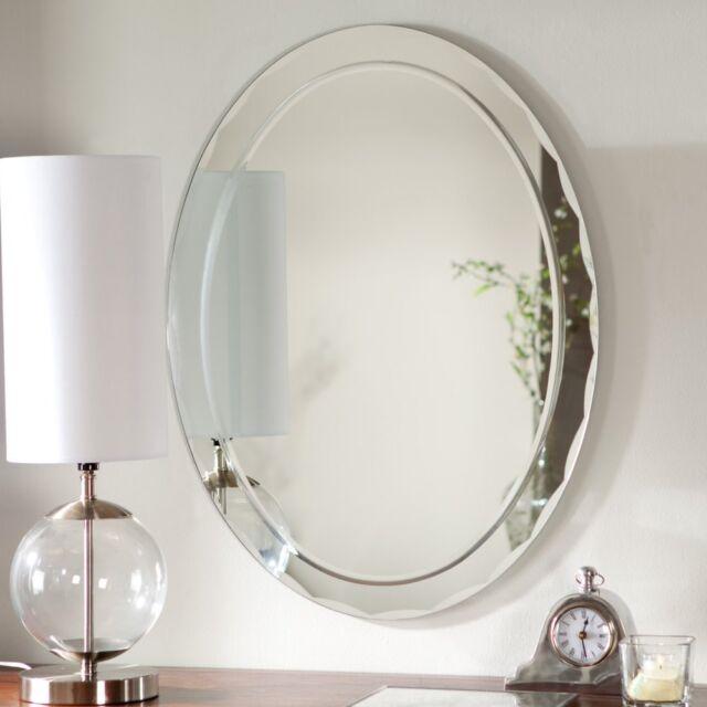 Frameless Wall Mirror Bathroom Beveled Edge Vanity Contemporary Decorative