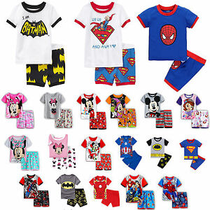 Kids-Baby-Boys-Caroon-Short-Sleeve-Tops-Shorts-Sleepwear-Pyjamas-Pjs-Outfits-Set