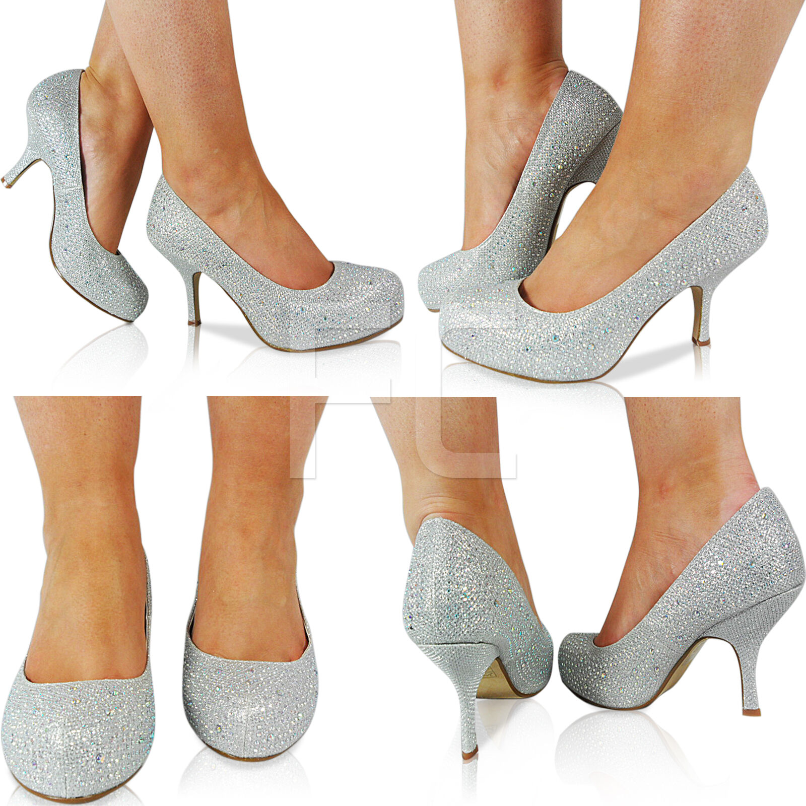 NEW WOMENS LADIES LOW HEEL WEDDING FORMAL BRIDAL PROM PARTY COURT SHOES SIZE