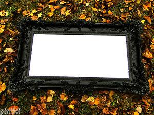 Specchio da parete barocco nero antico specchio wanddeko repro deco 97x57 grande ebay - Specchio parete grande ...