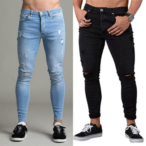 Mens Denim Pants Skinny Stretch Fit Ripped Casual Destroyed Jeans Frayed Trouser