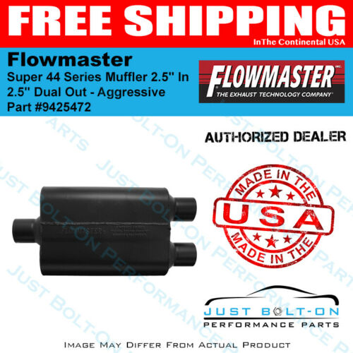 """2.5/"""" Dual Out Flowmaster Super 44 Series Muffler 2.5/"""" In Aggressive 9425472"""