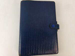 Filofax-Tejus-Personal-Organizer-Folio-Calf-Leather-Blue-Planner-6-ring-Binder