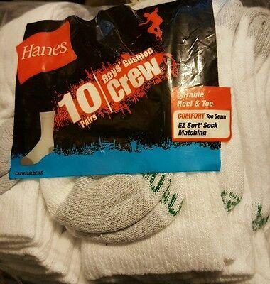 9-2.5 15 Pairs Hanes Boys EZ Sort Full Cushion Foot Crew Socks Black Medium