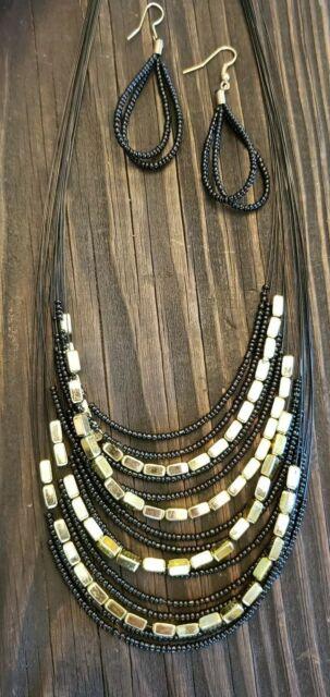 Black Goldtone Seed Bead Multi 15 Layer Strand Statement 19