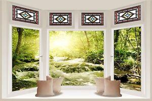 Huge-3D-Bay-Window-Green-River-Flowing-View-Wall-Sticker-Mural-Wallpaper-S39