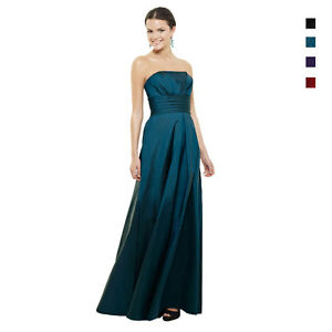 A-Line-Strapless-Pleated-Taffeta-Formal-Evening-Gown-Bridesmaid-Dress-ed5347