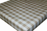 Wipe Clean PVC Tablecloth Oilcloth Vinyl Fabric - Beige Gingham Check