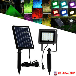 Image Is Loading 10w Solar Rgb Flood Spot Light Waterproof