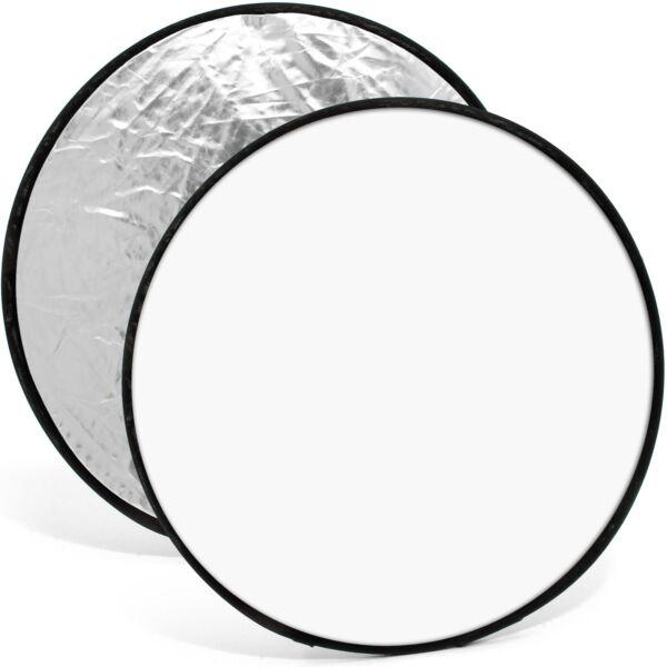 """110cm (43"""") 1 En 2-pliant Rond Disque Studio Réflecteur De Lumière Argent & Blanc PréParer L'Ensemble Du SystèMe Et Le Renforcer"""