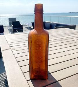 Antique-1880s-Paine-s-Celery-compound-Amber-antique-glass-Medicine-bottle-19th-C