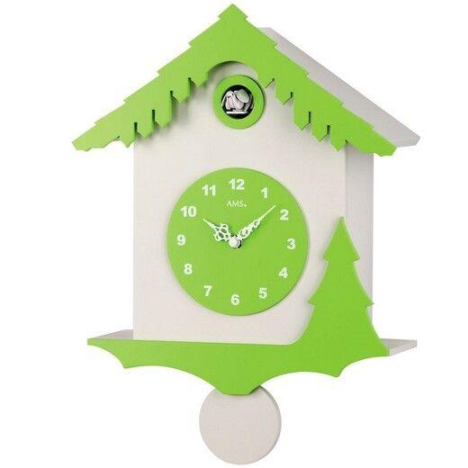 AMS 7389 Kuckucksuhr orologio da parete quarzo  pendolo  bianco verde