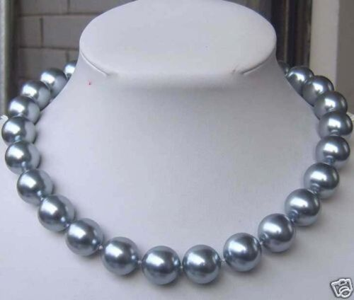 "8 mm argent gris coquillage perle Collier 18/""AAA PN302"