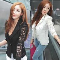 Lady Womens OL Casual Suit Lace Coat Jacket Blazer Plus Size Top Cardigan 8- 22