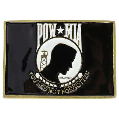 FREE SHIPPING Made in USA POW MIA You Are Not Forgotten Logo Metal Belt Buckle