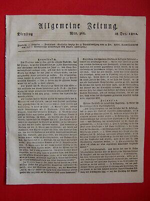 Billiger Preis Alte Zeitung Vom 28.dezember 1802 Allgemeine Zeitung, über 200 Jahre Alt
