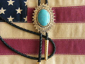 NEW-TURQUOISE-COLOUR-STONE-BOLO-TIE-GOLD-METAL-LEATHER-CORD-WESTERN-COWBOY-GOTH