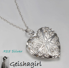 925 Sterling Silver Heart Filigree Locket Chain Necklace 18 inch 46cm Photo UK