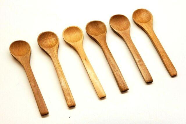 Set of 5 spoons Small Teak Wood Sugar Chilli Salt Utensil kitchenware