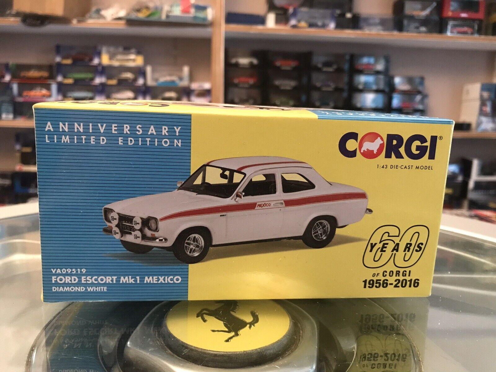 Corgi Vanguards Ford Escort Mk1 Mexico White Red Stripes 1 43 MIB Ltd Ed VA09519