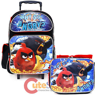 """Angry Birds Large School Roller Backpack 16"""" Wheeled Bag Lunch 2pc Set Why SO"""