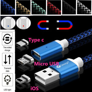 2-4A-Magnetic-Micro-USB-Type-C-IOS-Fast-Charging-Charger-Data-Sync-Cable-Cord