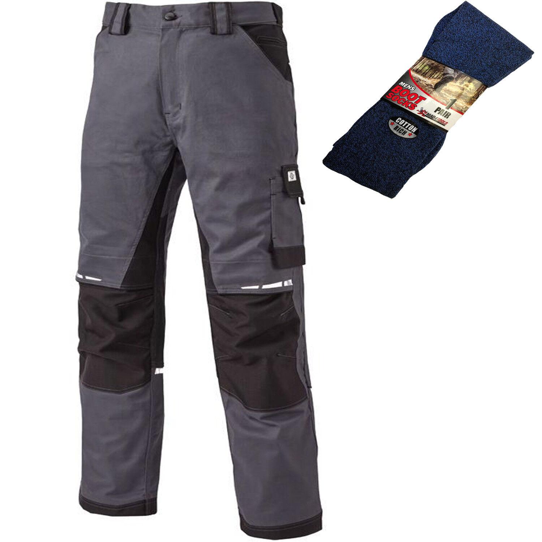 Dickies GDT Premium Pantaloni Rinforzato Grigio Nero e 1 paio di calze Stivale