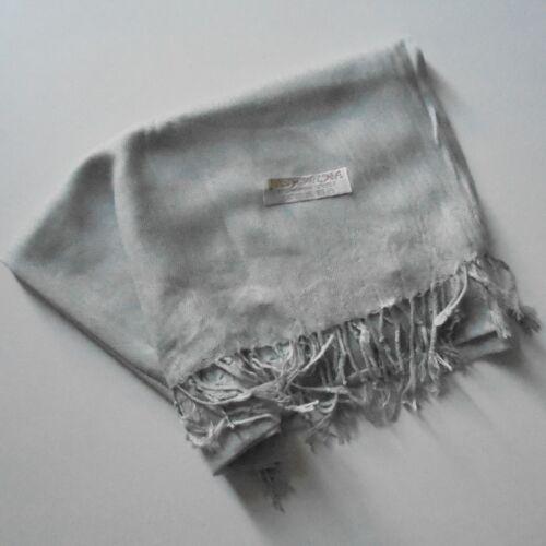 200 cm sur 60 cm neuve en gris clair Echarpe wrap en pashmina et soie