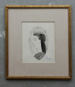 Original Pablo Picasso Ink Gouache Drawing Hand Signed Framed Guaranteed Authent
