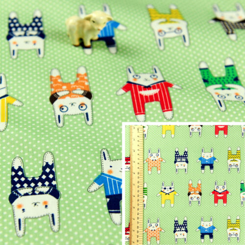 Green Fat Quarter//MeterCotton Fabric FQSewing Quilt CraftWoodland Bunny