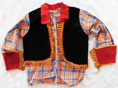 Vintage Bambini Costume Wild West Cow-boy Girl Per Visualizzare Solo-mostra Il Titolo Originale Piacevole Al Palato